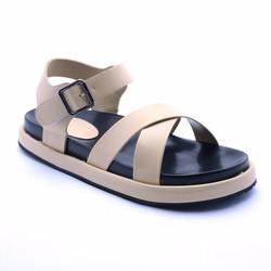 Sandal đế bánh mì quai chéo - Kem
