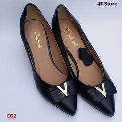 Giày cao gót màu đen gót vuông 5cm da tổng hợp mềm mại - Dodavi