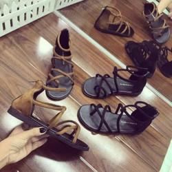Giày sandal đan dây chiến binh có khoá kéo sau
