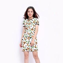 Set áo thun nữ phối chân váy họa tiết hoa chấm bi đen