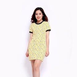 Set áo thun nữ phối chân váy họa tiết chấm bi vàng đen