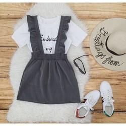 Set áo thun + váy 2 dây bèo