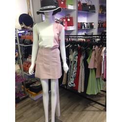 Set áo và chân váy phối hồng trăng xinh cho nữ, giá ưu đãi