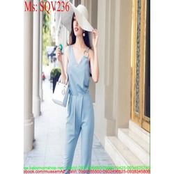Sét áo kiểu cổ V cách điệu phối quần dài sành điệu SQV236