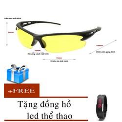 kính mắt thời trang đẹp mắt tặng đồng hồ led silicon
