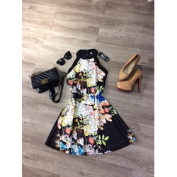 Đầm xòe hoa phối họa tiết cực xinh cho nữ, giá ưu đãi