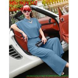 Sét áo kiểu tay cánh dơi phối quần ống suông thời trang SQV342