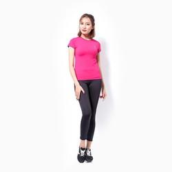 Áo thể thao nữ tay ngắn logo Adidas màu hồng đậm - size L