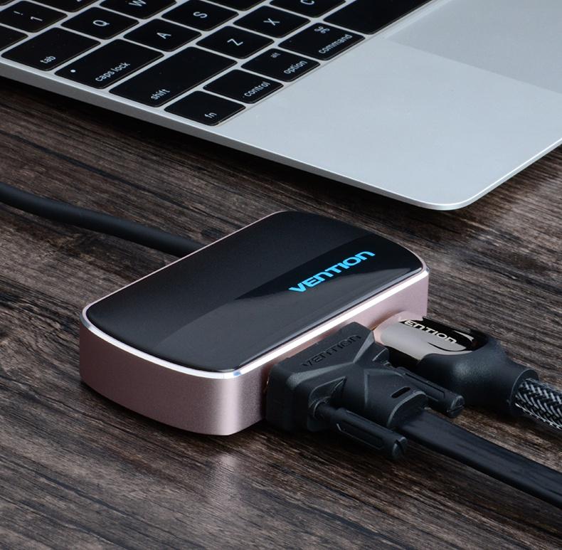 Bộ chuyển đổi Type C sang HDMI VGA USB Vention CGCBB 5