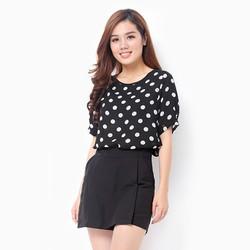 Áo thời trang công sở họa tiết chấm bi màu đen - size L