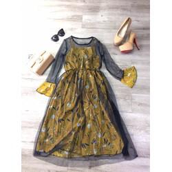 Váy 2 dây phối ren lưới ngoài xinh cho nữ, giá khuyến mãi
