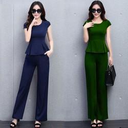 Set bộ dài peplum xanh rêu thời trang - TP1433