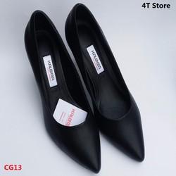 Giày cao gót 7cm màu đen, mũi nhọn gót nhọn, đế thoát khí - Kaleea