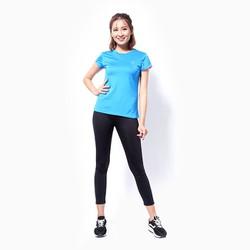 Áo thể thao nữ tay ngắn logo Adidas màu xanh đậm - size L