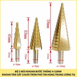 Bộ 3 mũi khoan tháp bước thẳng 4-32mm khoan sắt tấm dày chuôi tròn