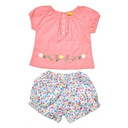 Đồ bộ bé gái áo thêu quần hoa xinh xắn màu Hồng - size 5