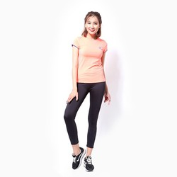 Áo thể thao nữ tay ngắn logo Adidas màu cam neon - Size M