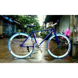 xe đạp fixed single xanh dương trắng mới 2017 bảo hành sườn 1 năm