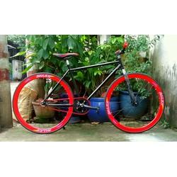 xe đạp fixed gear đen đỏ mới 2017 bảo hành sườn 1 năm