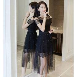 Sét đầm ôm + váy xoè lưới bi