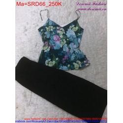Sét áo hoa phối với quần dài đen trẻ trung, sành điệu SRD66