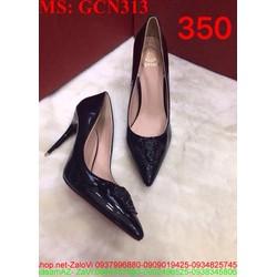 Giày cao gót nữ mũi nhọn gót vuông đính logo VS sành điệu GCN314
