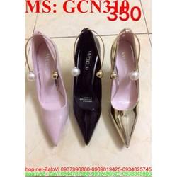 Giày cao gót nữ mũi nhọn quai vòng kiềng ngọc trai GCN310
