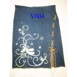 Váy jean thiết kế vẽ họa tiết hoa cách điệu độc quyền