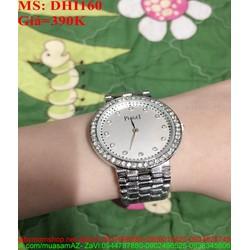 Đồng hồ dây inox trắng viền đính hạt sang trọng DHI160