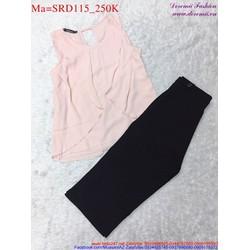 Sét áo voan hồng nhạt phối với quần lửng dễ thương SRD115