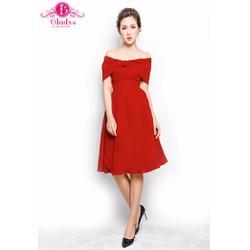 Đầm dự tiệc đầm xòe bẹt vai nhung đỏ