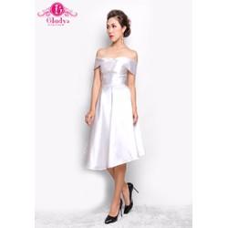 Đầm dự tiệc đầm xòe bẹt vai phí trắng