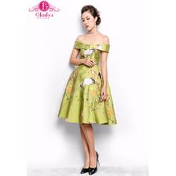Gladys - Đầm thiết kế dự tiệc, đầm xòe bẹt vai họa tiết chim hạc