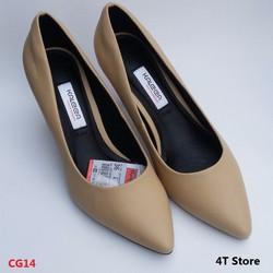 Giày cao gót 5cm màu kem, mũi nhọn gót nhọn, đế thoát khí - Kaleea