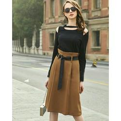 Chân váy dài lưng xếp ly kèm belt