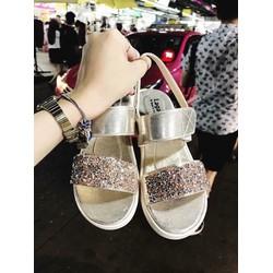 Giày sandal quai ngang ánh nhũ - màu vàng đồng