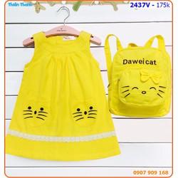 Đầm túi mèo kèm balo xinh xắn cho bé đến trường
