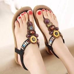 Giày sandal đế bằng nữ thổ cẩm hàng nhập - LN1327
