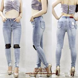 Quần Jeans phối lưới, form ôm tôn dáng