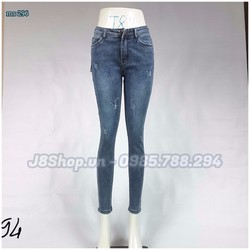 Quần Jean Nữ Lưng Cao  Size 30 - 34 Cào Xước Nhẹ Ms 296