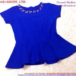 Áo kiểu nữ tay con thiết kế cổ đính hoa thời trang xinh xắn AKN399