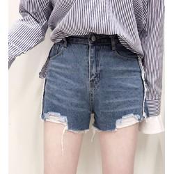 quần short jeans rách cá tính Mã: QN744 - XANH