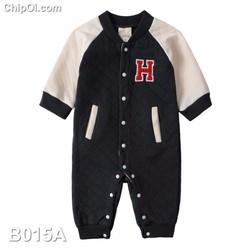 B015 – Bodysuit áo liền quần kiểu áo khoác bóng chày bé trai giá rẻ
