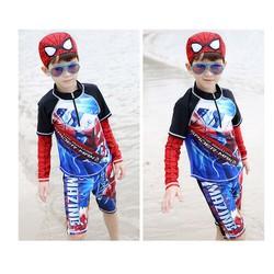 Bộ bơi bé trai tay dài hình người nhện kèm nón bơi