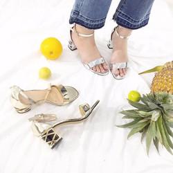 giày gót vuông quai ngang đơn giản