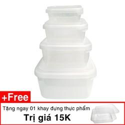 Bộ 4 hộp nhựa cao cấp chuyên dùng đựng thực phẩm tặng 1 khay nhựa