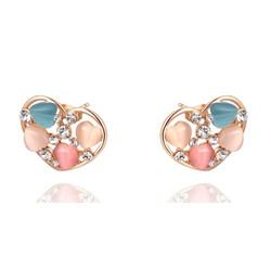 Hoa tai trái tim đính đá Opal mạ màu vàng hồng E0005