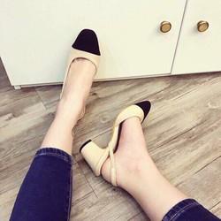 Giày cao gót captoe mũi tròn gót 5cm cao cấp
