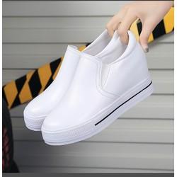 Giày slip on  đế độn da trơn