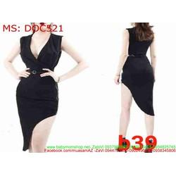 Đầm ôm dự tiệc màu đen xẻ cổ v và xéo sành điệu DOC521